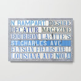 New Orleans Street Names Tile Art Word Typography Letters French Quarter Uptown Marigny Metal Print