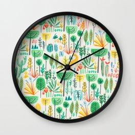 Jungle life with golden unicorn Wall Clock