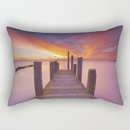 II - Seaside jetty at sunrise on Texel island, The Netherlands Rectangular Pillow