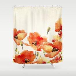 Poppy Flower Meadow- Floral Summer lllustration Shower Curtain