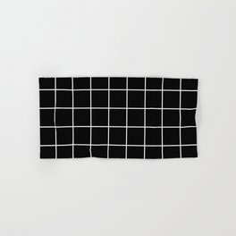 Square Grid Black Hand & Bath Towel
