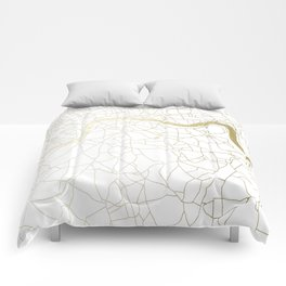 London White on Gold Street Map Comforters