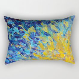 AQUATIC MELODY - Lovely Bright Abstract Ocean Waves Acrylic Painting Colorful Rainbow Beach Gift Art Rectangular Pillow