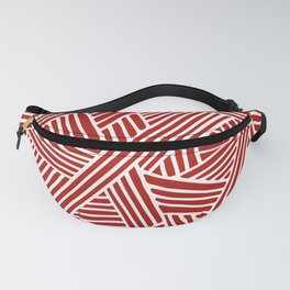 Abstract Navy Red & White Lines and Triangles Pattern Fanny Pack