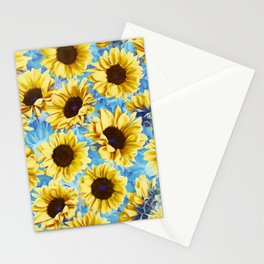 Dreamy Sunflowers on Blue Stationery Cards