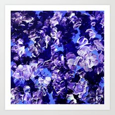 FLORAL FANTASY 2 Bold  Blue Lavender Purple Abstract Flowers Acrylic Textural Painting Garden Art Art Print