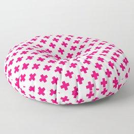 Hot Neon Pink Crosses on White Floor Pillow
