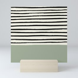 Sage Green x Stripes Mini Art Print