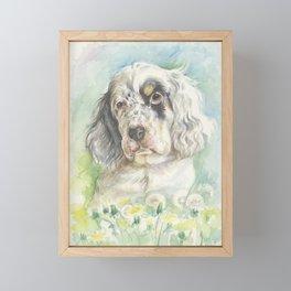 ENGLISH SETTER PUPPY Cute dog portrait on the dandelions meadow Framed Mini Art Print