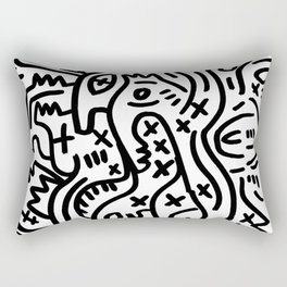 Graffiti Street Art Black and White Rectangular Pillow