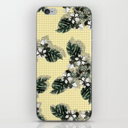 Bramble Flower on Yellow Mosaic iPhone Skin
