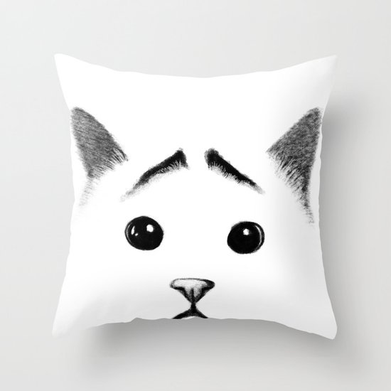 Cat with eyebrows Throw Pillow