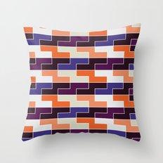 Orange & blue tile pattern Throw Pillow