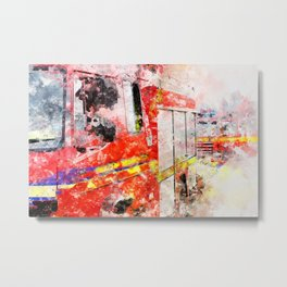 Norfolk Fire and Rescue Appliances at a fire. Watercolour image.  Metal Print
