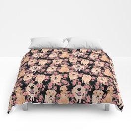 Golden Retrievers and flowers on Black Comforters