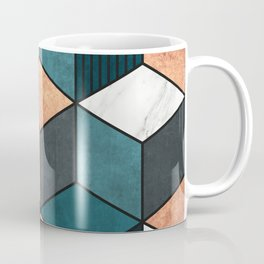 Copper, Marble and Concrete Cubes 2 with Blue Coffee Mug