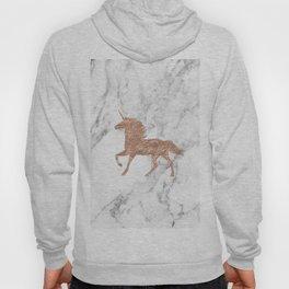 Rose gold unicorn on marble Hoody