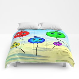 Happy colorful balloons flying in the sky Comforters
