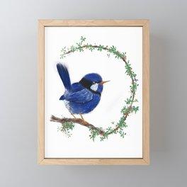 wren on a branch Framed Mini Art Print