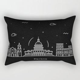 Havana Minimal Nightscape / Skyline Drawing Rectangular Pillow