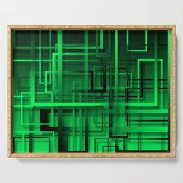 Black and green abstract Serving Tray