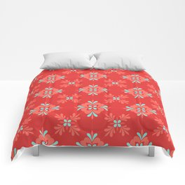 Red Background with Coral and Aqua Flower Pattern Comforters
