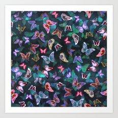 Butterfly  Forest Green Art Print