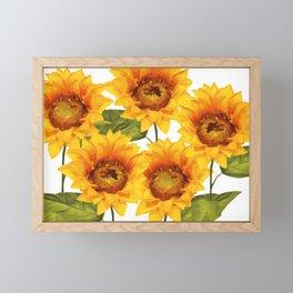 Design Five Sunflower on white Background Framed Mini Art Print