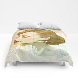 Audrey and Chrysanthemums Comforters