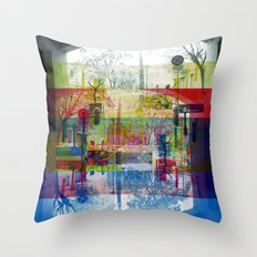 Remembering rushing through but without obstacles. [CMYK] Throw Pillow