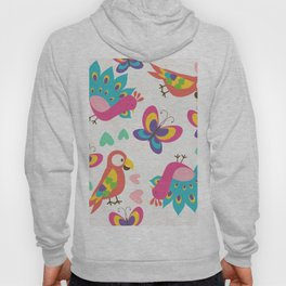 Exotic Birds & Butterflies Pattern Hoody