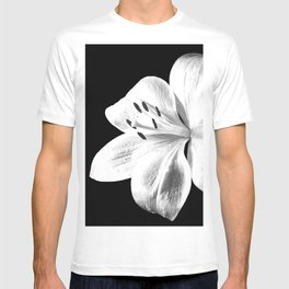 White Lily Black Background T-shirt