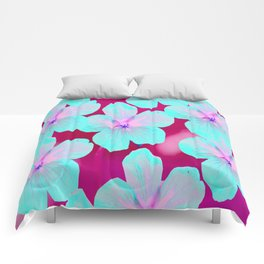 Turquoise Retro Flowers On Pink Background #decor #society6 Comforters