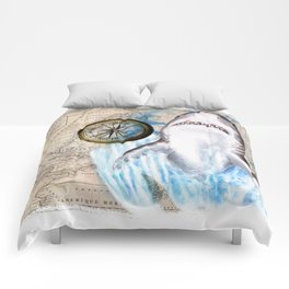 Great White Shark Compass Vintage Map Comforters