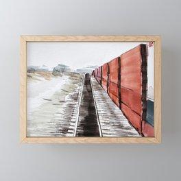 Freight train, Alberta Framed Mini Art Print