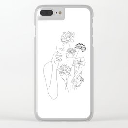 Minimal Line Art Woman with Flowers III Clear iPhone Case
