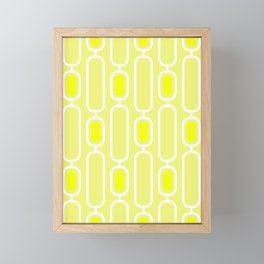 Daisy Yellow Retro 50s Geometric Pattern Framed Mini Art Print