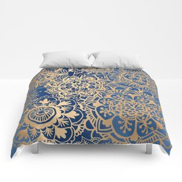 Blue and Gold Mandala Pattern Comforters