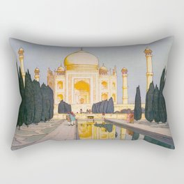 The Taj Mahal Gardens Hiroshi Yoshida Japanese Woodblock Prints Rectangular Pillow