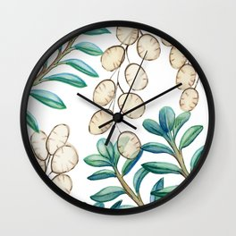 Silver Dollar Plant Wall Clock