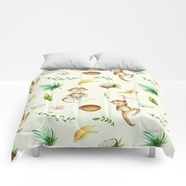 Tropical hand painted floral monkeys coconut pattern Comforters