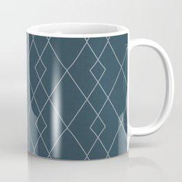 Fine diamond lines on petrol green, teal Coffee Mug