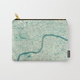 London Map Blue Vintage Carry-All Pouch