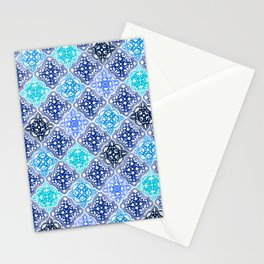 Blue Painted Moroccan Tile Pattern Stationery Cards