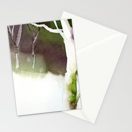 Watercolor painting of trees silhouetted in forest during sunset.  Watercolor landscape painting. Stationery Cards