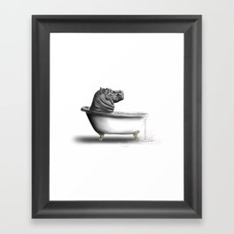Hippo in Bath Framed Art Print