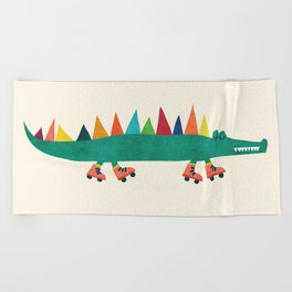 Crocodile on Roller Skates Beach Towel