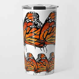 Watercolor Monarch Butterfly in Flight Travel Mug