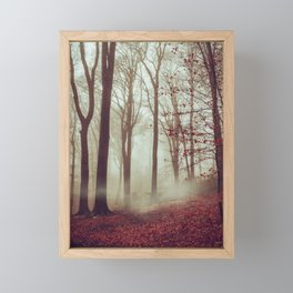 Late fall Forest in Fog Framed Mini Art Print