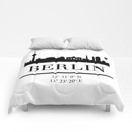 BERLIN GERMANY BLACK SILHOUETTE SKYLINE ART Comforters